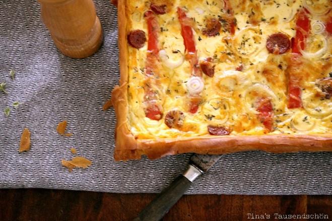 Tarte mit Chorizo und Paprika