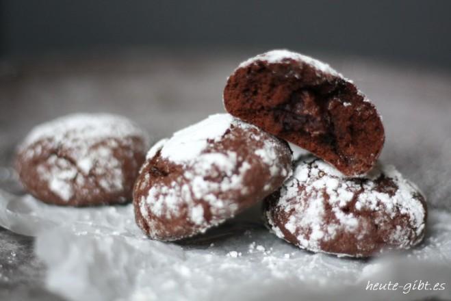 Chocolate Crinkles mit weichem Kern