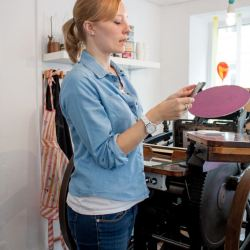 Céline during embossing