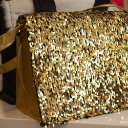 Golden & quot; sequined lid pocket""