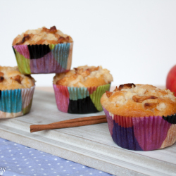 Juicy apple muffins with cinnamon and sprinkles