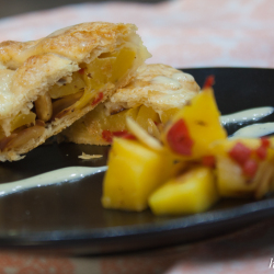Strudel filled with mango and chilli