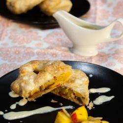 Mango strudel with vanilla sauce