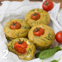 Polenta and spinach muffins with sheep's cheese filling