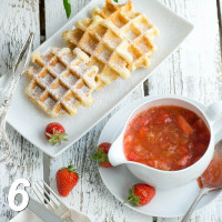 Belgian waffles with rhubarb compote