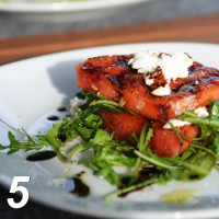 Grilled watermelon with goat cheese