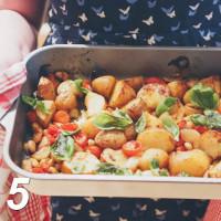 Ofengemüse Kartoffeln Zwiebeln Kirschtomaten Bohnen