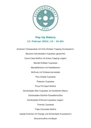 Kuchenkarte Pop Up Bakers 13.02.16