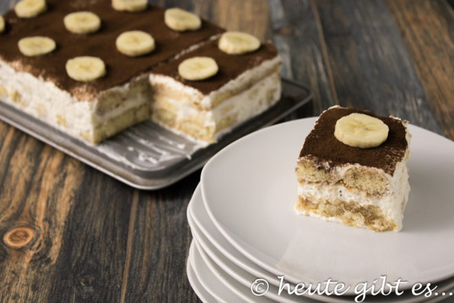 Bananen-Tiramisù, Alternative ohne Kaffee zum italienischen Dessertklassiker mit Schokolade und Banane