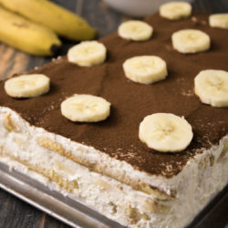 Banana Tiramisu, Alternative without coffee to the Italian classic dessert with chocolate and banana
