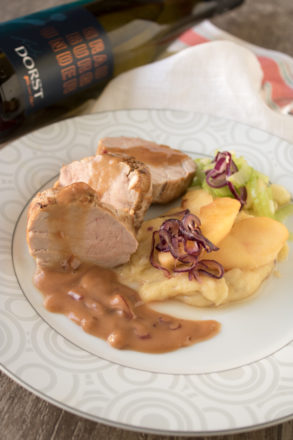 Pork fillet on potato and apple puree with apple and celery salad to be Pinot Gris Lady Dorst