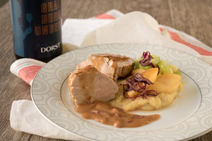 Schweinefilet auf Kartoffel-Apfel-Püree mit Apfel-Sellerie-Salat zu zu Grauburgunder Lady Dorst