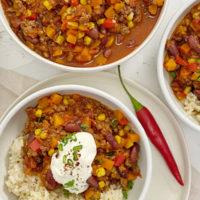 Chili con Carne mit Reis und Kürbis