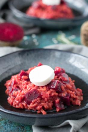 Rezept für Rote-Bete-Risotto, ein vegetarisches Hauptgericht für die Winterzeit, lecker und einfach in der Zubereitung, eine Variante des italienischen Klassikers Risotto
